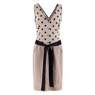 Valentino Beige & Black Linen-blend Dotted Dress