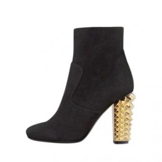Fendi Black Suede Ankle Boots with Gold Spiked Heel