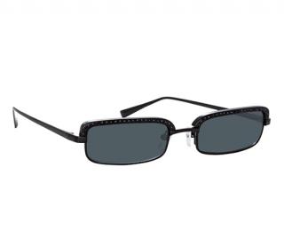 Linda Farrow x The Attico Black Crystal Embellished Dana Sunglasses
