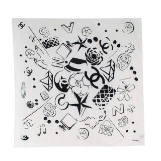 Chanel Black & White House Icons Print Silk Scarf 90