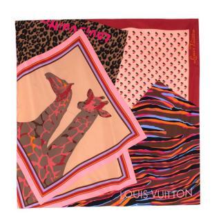 Louis Vuitton Pink Animal Print Silk Scarf 90