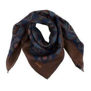 Drakes Brown & Blue Print Handkerchief/Neck Tie