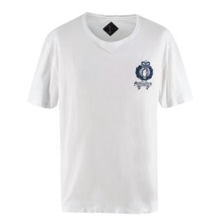 Billionaire White Cotton Embroidered Detail T-shirt
