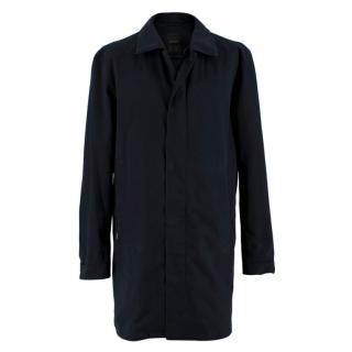 Z Zegna Navy Technical Microtene Coat