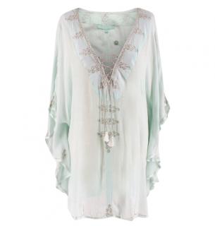 Melissa Odabash Mint Embroidered Bohemian Cotton Kaftan