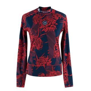 Adidas x Stella McCartney True Purpose Red & Navy Long Sleeve Top