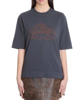 Ganni Grey Cotton Fantasy Reality T-shirt