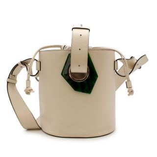 Ganni Ivory Grained Leather Bucket Bag
