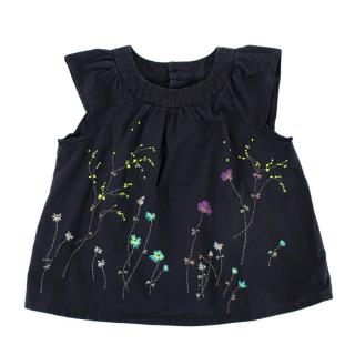 Bonpoint Dark Blue Embroidered Flowers Short Sleeve Tunic