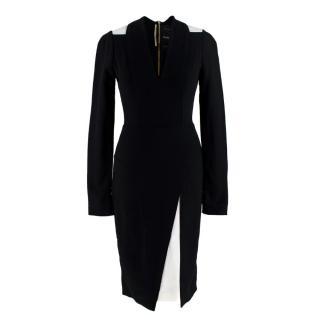 Roland Mouret for Harrods Black & White Midi Long Sleeve Crepe Dress
