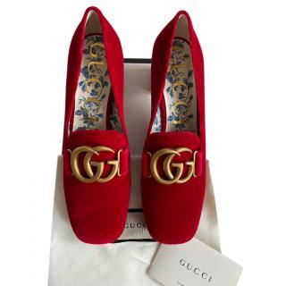 Gucci Red Velvet Block Heel Pumps