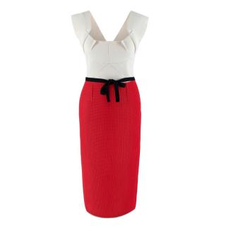 Roland Mouret Beige & Red Braided Crepe Midi Dress