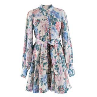 Zimmermann Linen Floral Belted Dress