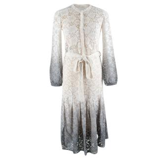 Burberry Cream & Blue Ombre Long Sleeve Lace Dress