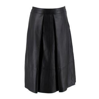 Rag & Bone Black Leather Pleated Skirt