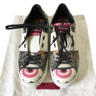 Valentino Printed Leather Open Multicolour Sneakers