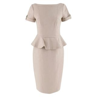 Burberry Beige Peplum Waist Midi Dress