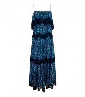 Athena Procopiou Blue Lace Detailed Tiered Maxi Dress