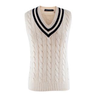 Ralph Lauren Tennis Ivory Cashmere Blend Cable Knit Vest