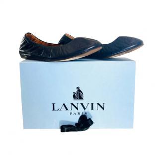 Lanvi Blue Stretch Leather Ballerinas