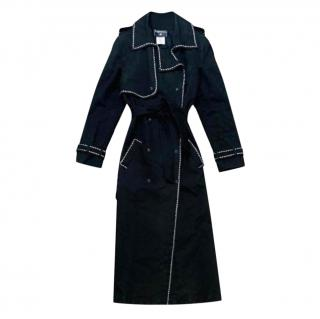 Chanel Chain Trim Black Quilted Leather Trench Coat