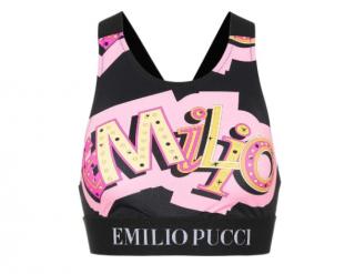 Emilio Pucci Pink & Black Logo Print Sport Crop Top