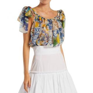 Dolce & Gabbana Silk Chiffon Majolica Blouse