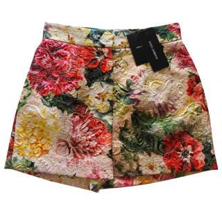 Dolce & Gabbana floral printed brocade shorts