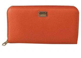 Dolce & Gabbana Orange Leather Continental Wallet