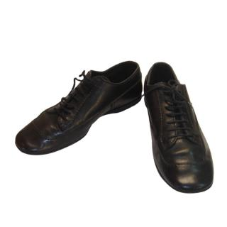 Prada Black Leather Low Top Bowling Sneakers