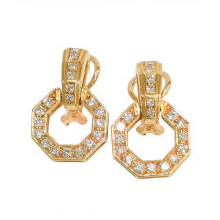 Bespoke French Handmade 18ct Yellow Gold Diamond Door Knocker Earrings