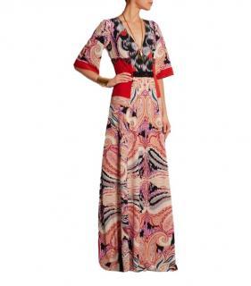 Etro 42 Embellished Paisley Silk Jersey Maxi Dress