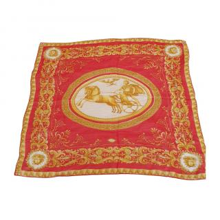 Atelier Versace Vintage Red & Gold Scarf