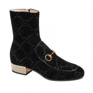 Gucci Velvet GG Crystal Embellished Ankle Boots