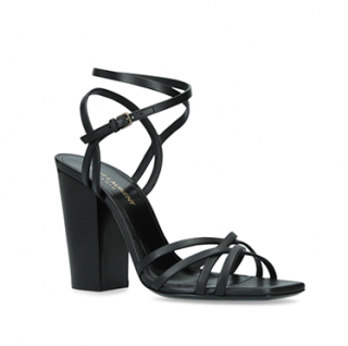 Saint Laurent Black Leather Oak 100mm Block Heel Sandals
