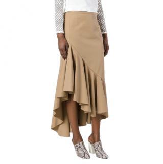 Erika Cavallini Camel Asymmetric Poplin Skirt
