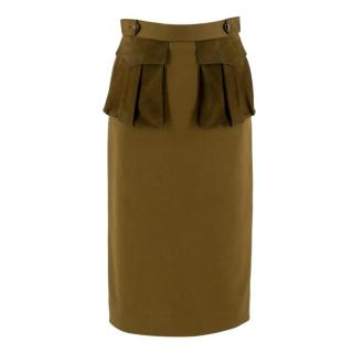 Burberry Khaki Cotton & Leather Skirt