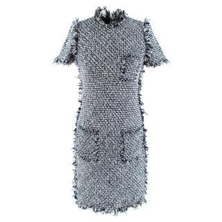 Lanvin Blue Tweed Short Sleeve Dress