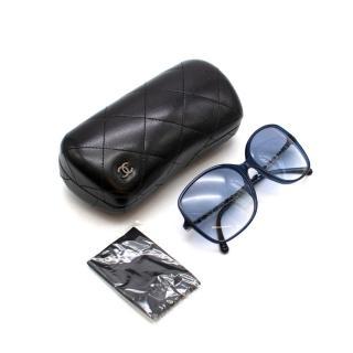 Chanel Blue Chain Detail Oversized Sunglasses