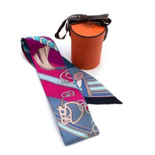 Hermes Blue & Pink Equestrian Silk Twilly