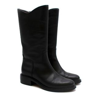 Chanel Black Leather CC Long Boots