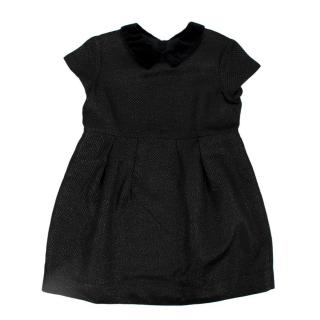Bonpoint Black Textured Contrasting Collar Pleated Dress