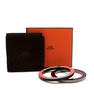 Hermes Pink Grey & Burgundy Set of 2 Resin Bracelets