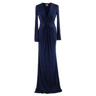 Issa London Navy Silk Twist Front Gown