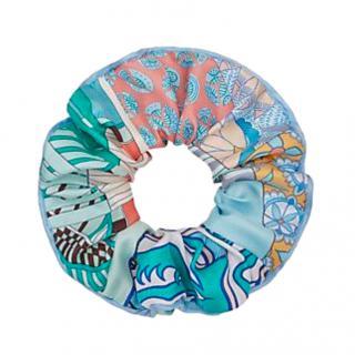 Hermes Blue Patchwork Printed Silk Scrunchie