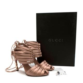 Gucci Pink Satin Strappy Lace-Up Sandals