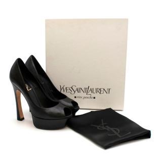 Yves Saint Laurent Black Leather Peep-toe Platform Pumps