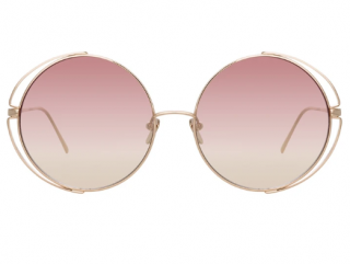 Linda Farrow Farah 816 C8 Round Sunglasses with beach bag