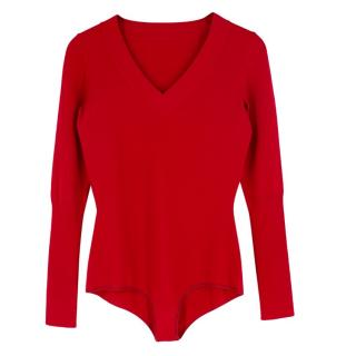Alaia Red Wool-blend Knit Bodysuit