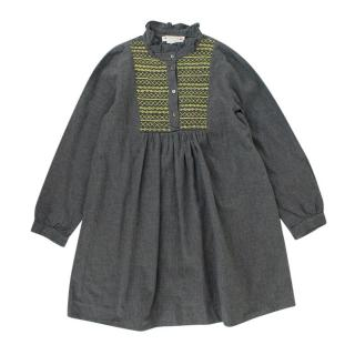 Bonpoint Kids 8Y Grey Embroidered dress
